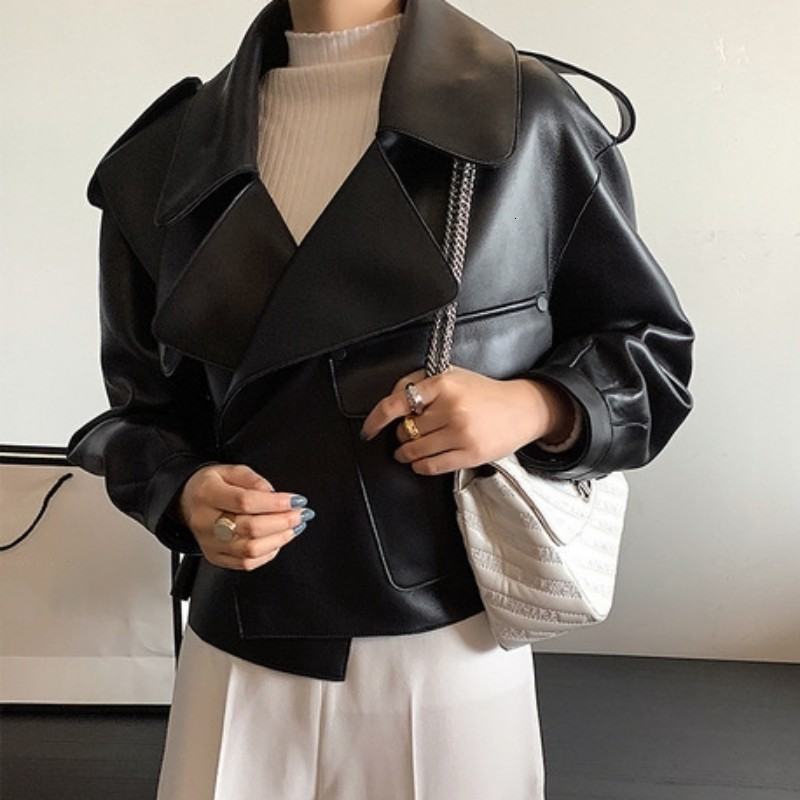Fashion Leather Jacket Women's Pocket Leather Sheepskin Coat Autumn Spring Women's Leather Coat Loose