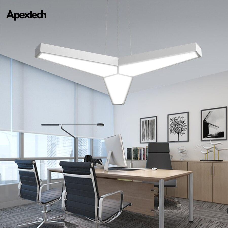 Modern Led Pendant Light Geometric Ceiling Haing Lamp White/Black Office Lighting Fixtures Dining Room Table Lights
