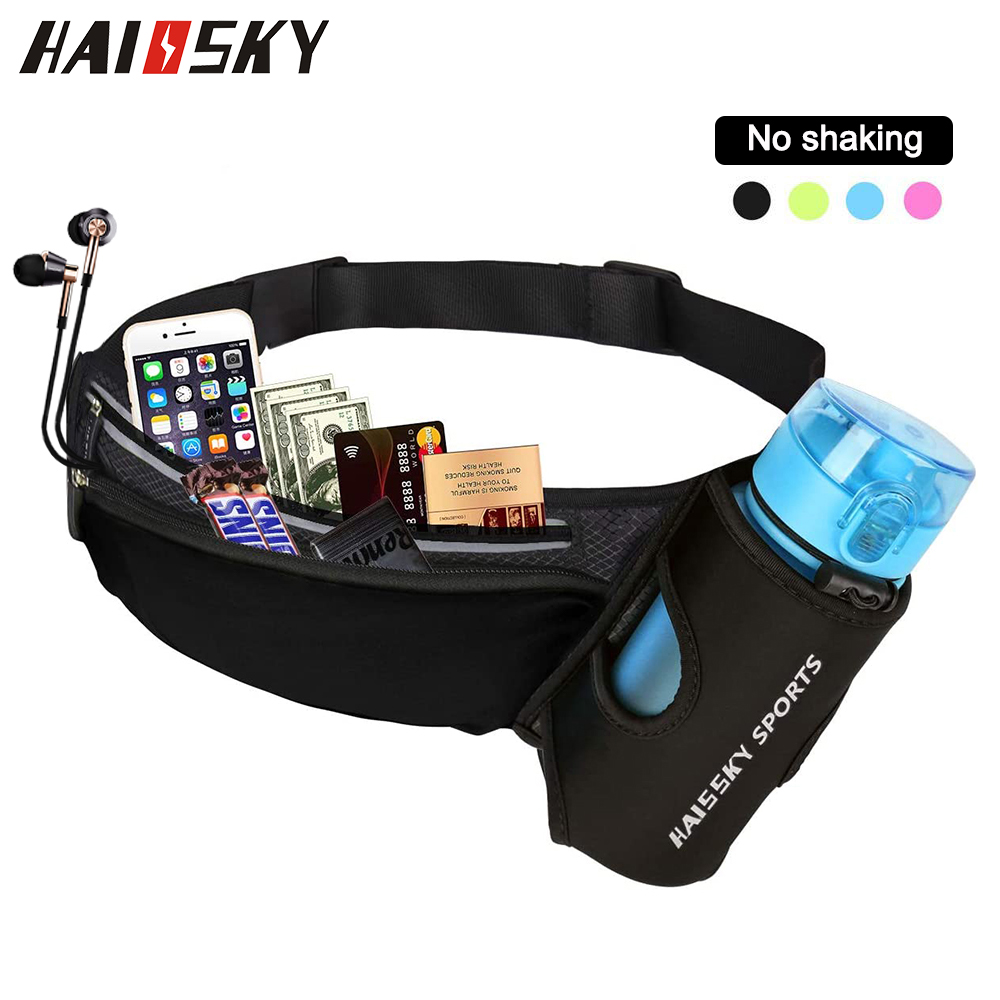 HAISSKY Running Waist bag Sports Gym Bag Men's Women's Belt Pack For Phone Unisex Trail Run Jogging Fitness Pack Water Bottle