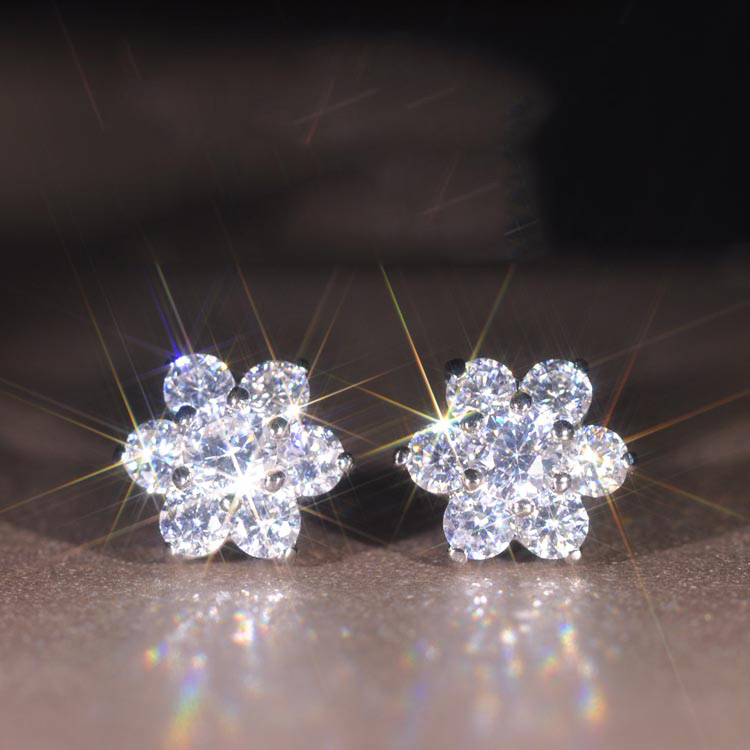 Advanced Similar  Moissanite Female Jewelry Earrings Top Quality AAA CZ  Flower Shaped Stud Earrings For Women Wedding Brincos