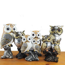 Resin Modern Owls Figurines Animal Statue Living Room Ornaments Owl Crafts Toy Office Home Decoration Accessories Handicraft