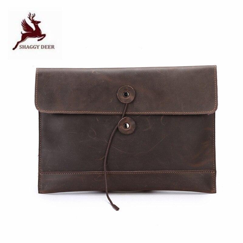 Style coréen enveloppe fou cuir de cheval sacs en cuir véritable qualité mince hommes documents pochette