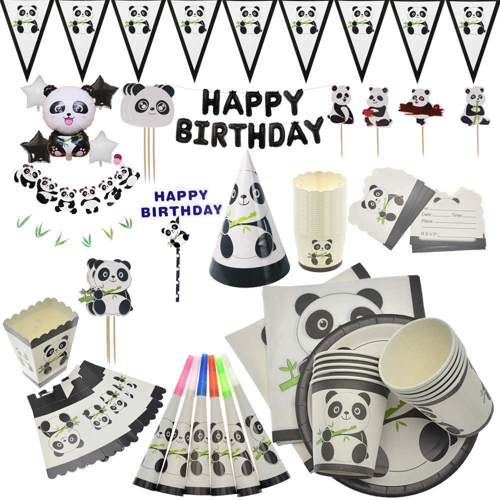 Cartoon Panda Thema Verjaardagsfeestje Decoraties Kids Wegwerp Servies Cupcake Plaat Servetten Cup Baby Shower Feestartikelen