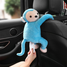 Multifunctional Car Tissue Box Cute Cartoon Paper Napkin Monkey Hanging Ornament Auto Interior Accessories