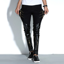 Obcisła szczupła czarna sztuczna skóra zimowe męskie spodnie biker hip hop skinny męskie spodnie klub nocny bar kostiumy streetwear tanie tanio HONGRAYS Ołówek spodnie Pełnej długości Mieszkanie Faux leather 26 - 38 Midweight Suknem Fałszywe zamki Moto Biker