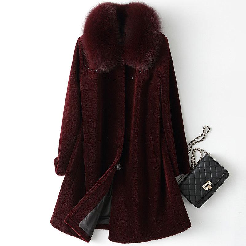 Sheep Real Shearling Fur Coat Winter Jacket Women Fox Fur Collar 100% Wool Coat Female Korean Long Jackets Plus Size MY S
