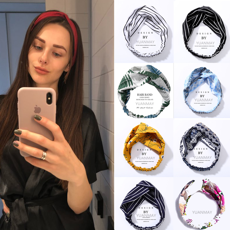 Set Combination Summer Women Turban Cross Knot Headband Hair Bands Girl For Elastic Band Soft Solid Bezel Hair Accessories