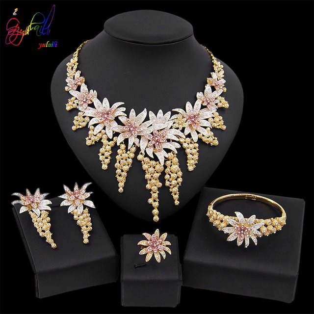 Yulaili New Hot African Female Costume Jewellery Gold Color Necklace Earrings Nigeria Wedding Jewelry Sets for Women Wholesale