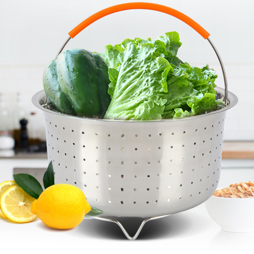 With Silicone Handle Stainless Steel Fruit Vegetable Dish Strainer Net Steaming Basket Cookware  Accessories