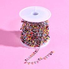 50cm colorido proeminente pedras contas tainless aço corrente diy encantos jóias fazendo colar pulseira acessórios artesanato