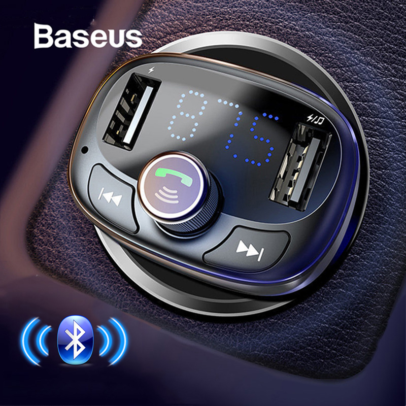 Baseus fm transmissor modulador bluetooth handsfree carro kit de áudio mp3 player com 3.4a duplo usb carro transmissor fm telefone carregador