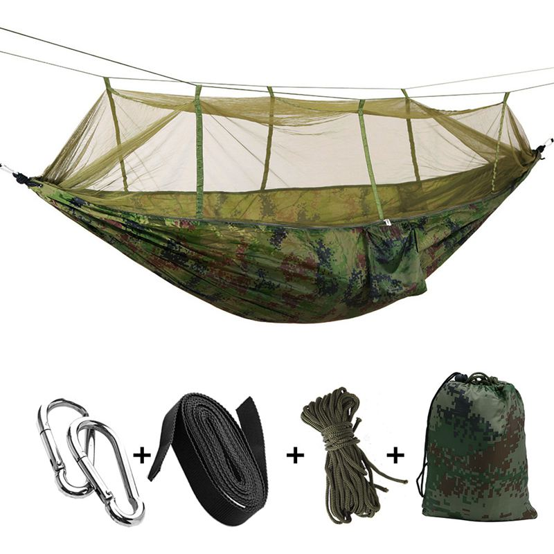 HHO-Portable High Strength Parachute Fabric Camping Hammock Hanging Bed With Mosquito Net Sleeping Hammock
