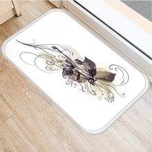 Alfombra antideslizante de ante con diseño de mariposa y flores, alfombrilla para puerta de cocina, sala de estar, decoración para el hogar y el dormitorio, 40x60cm