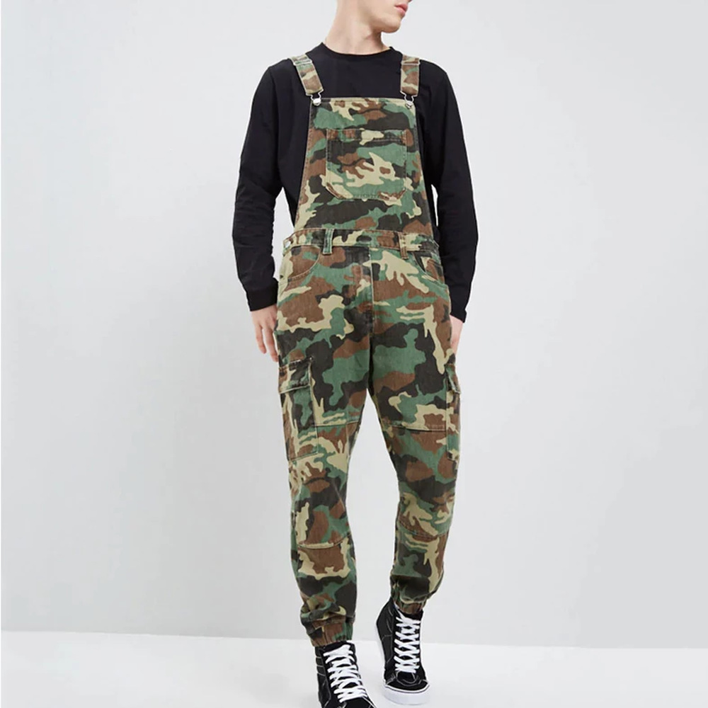 Mens Fashion Jean Jumpsuits One Piece Casual Camouflage Jump Suits Denim Bib Overalls Military Tracksuit Camo Suspender Pants