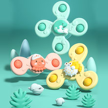 Montessori Baby Spin Top Bath Toys For Boy Children Bathing Sucker Spinner Suction Cup Toy For Kids 2 To 4 Years Rattles Teether