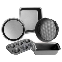 5 Piece Carbon Steel Baking Mold Set Oven Home Cake Biscuit Baking Tray Pizza Dish Kitchen Tool Baking Mold Waffle Molds     -