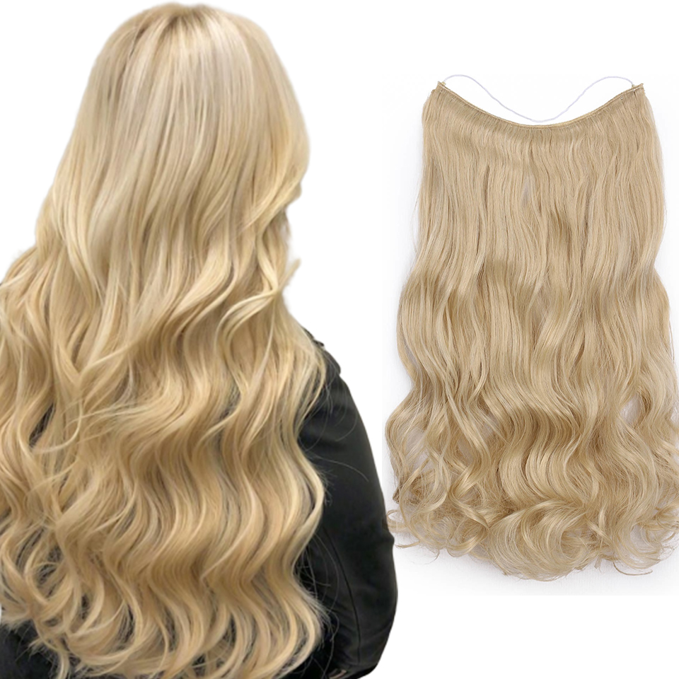 Invisible Wire Halo Hair Extensions каникалоны Hair Pieces Body Wave No Clip  For Women Heat Resistant Synthetic  Fiber Party