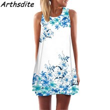 Arthsdite 2018 New Summer Lady Floral Print Dresses Beach Party Dress Off Shoulder Bohemian Women Vintage Mini A-Line Sundress