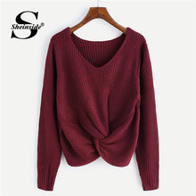 Sheinside Casual Front Twist Detail Sweater Women 2019 Autumn Long Sleeve Burgundy Sweaters Ladies Solid V Neck Basic Top(China)
