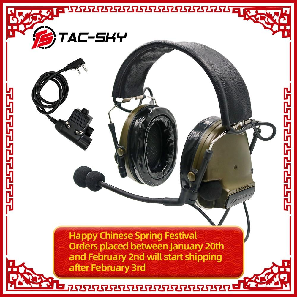 TAC-SKY COMTAC COMTAC III Silicone Earmuffs Noise Reduction Pickup Tactical Headset FG+military Adapter PTT KENWOOD U94 PTT