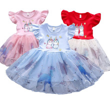 Платье для маленьких девочек Единорог платье летняя детская одежда От 1 до 5 лет платье для девочек на день рождения вечерние костюм с принто...