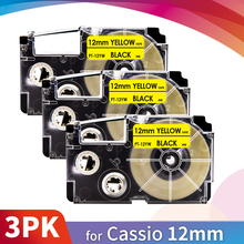 Label-Tape Casio High-Adhesive-Sticker Topcolor XR-12YW Black 12mm Yellow on Compatible