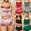 Fashion Women Solid Sleepwear Sexy Spaghetti Strap Shorts Pajama 2pcs Set Ladies Sleepwear female 1