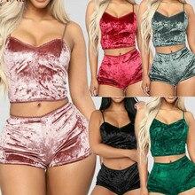 Fashion Women Solid Sleepwear Sexy Spaghetti Strap Shorts Pajama 2pcs S
