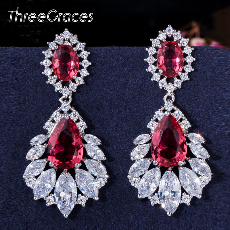 Women/'s Big Blue Clear Cubic Zirconia Long Crystal Drop Earrings Party Bridal