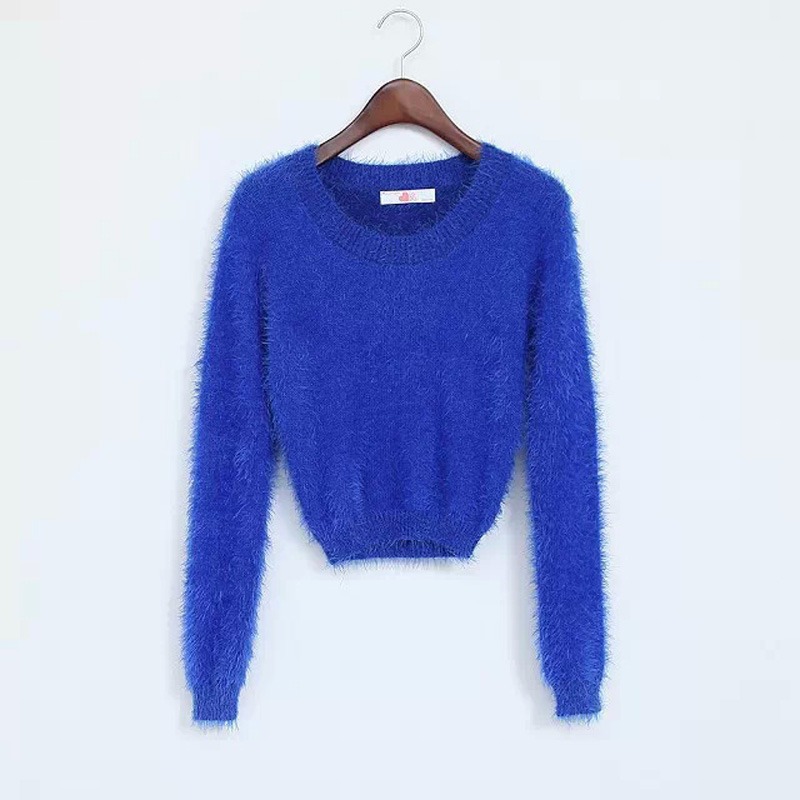 Crop Sweater Cropped Fuzzy Sweater Fluffy Pull Femme Christmas Sweaters 2019 Autumn Winter Pullover Sexy Jumper Kawaii Clothes