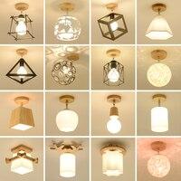 Jahrgang Industrielle Led Decke Lichter Holz Kristall Decke Lampe Flush Mount Plafond Lampe Für Wohnzimmer Schlafzimmer Korridor Gang