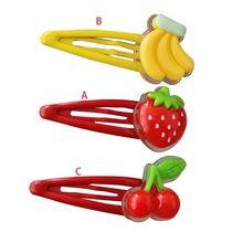 Для женщин и девочек, для выпечки краски, BB зажим для волос, Прекрасный 3D клубника, банан, вишня, фрукты из смолы в виде капли воды, заколки, аксессуары для волос