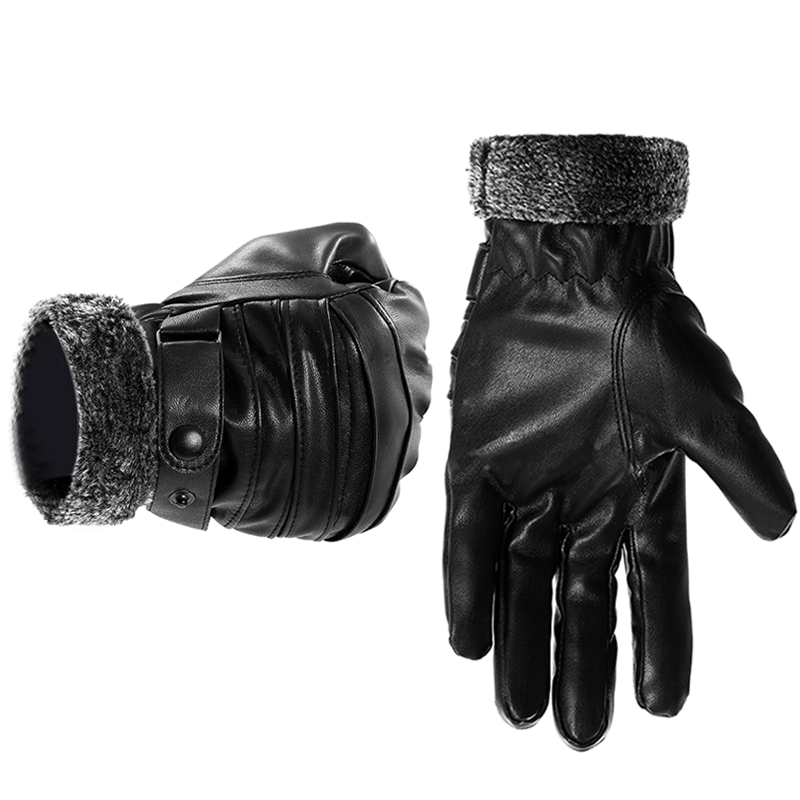 Men Leather Winter Gloves Touch Screen Windproof Keep Warm Driving Guantes Male Autumn Leather Gloves Black