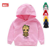 2019 Children New Casual White Hoodies Clothes for Baby Groot Print Boy Girls Kids Sweatshirts 2T-8T