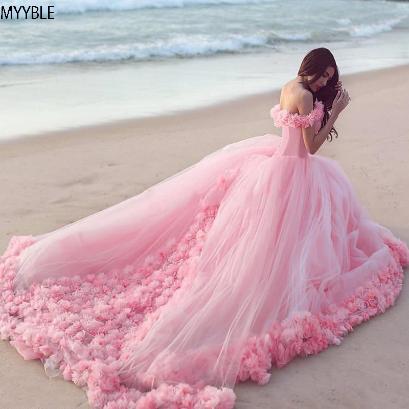 MYYBLE 2020 Pink Quinceanera Dresses Princess Cinderella With 3D Flower Off The Shoulder Elegant Tulle Party Gown Sweet 16 Dress