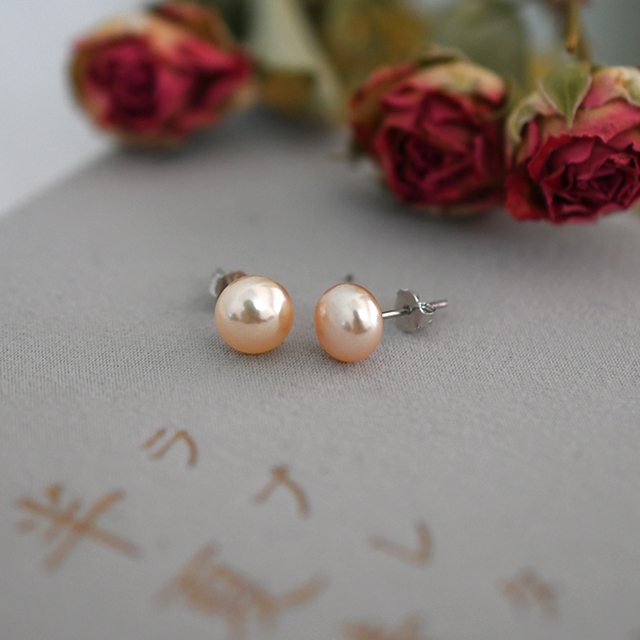 ASHIQI Natural Freshwater Pearl Stud Earrings For Women Real 925 Sterling Silver Jewelry Gift Wholesale 2