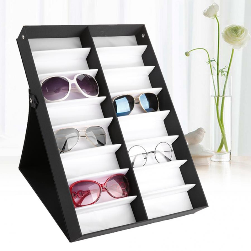 Glasses Display Case 16 Pairs Storage Box With Foldable Lid For Sunglasses Glasses Box