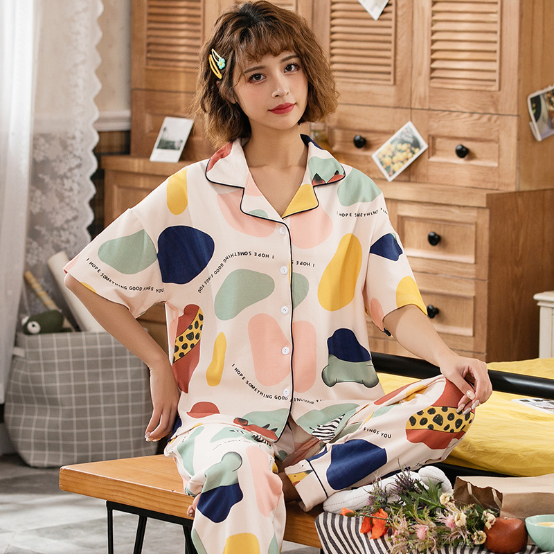 Peach Scent Spring Summer Casual Short Sleeve Trousers Fold-down Collar Knit Cotton Cardigan Home Two-Piece Pajamas