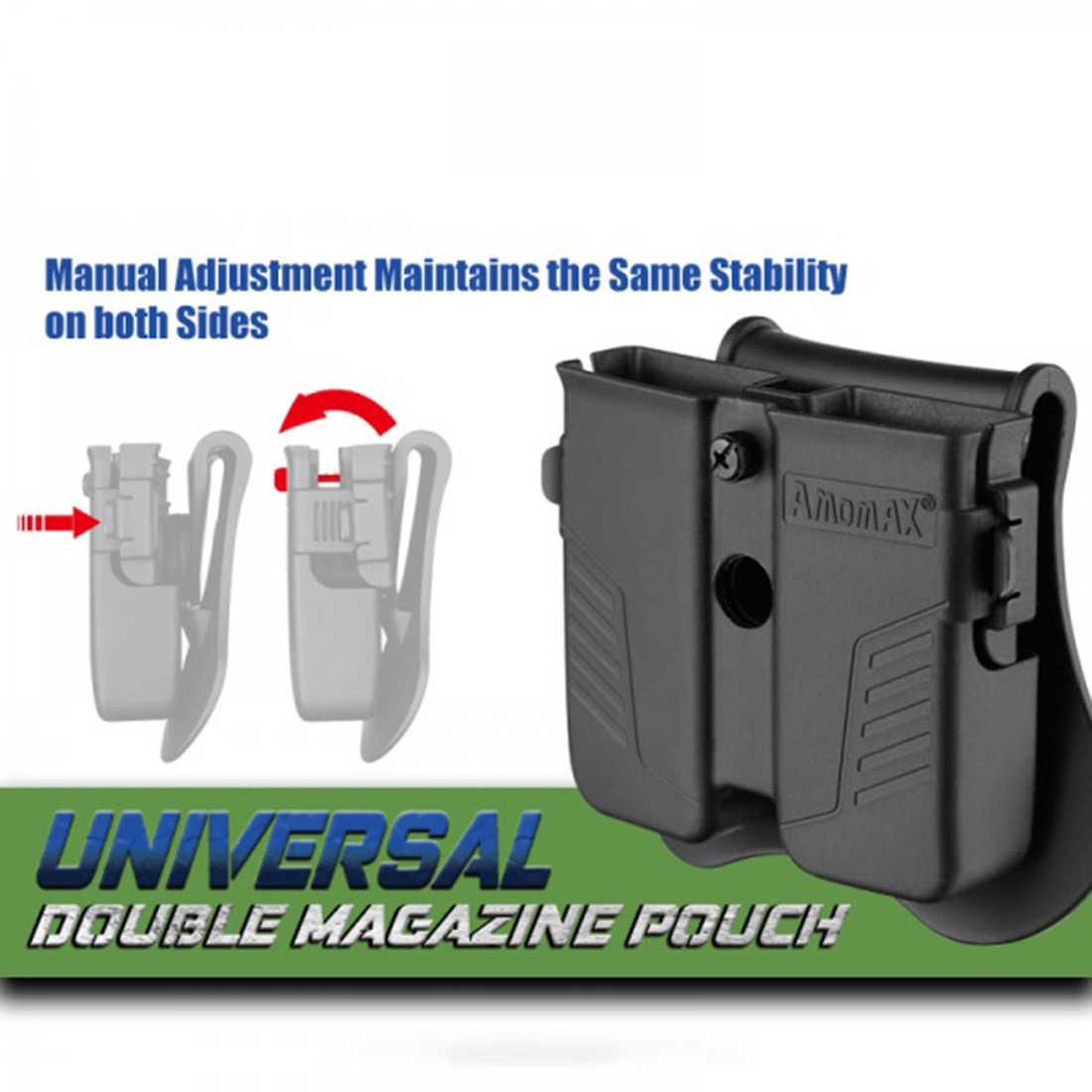 NFSTRIKE Amomax Tactical Double Magazine pokrowiec na uniwersalny 9mm. 40. 45 kaliber pojedyncze dwupoziomowy czasopisma-czarny