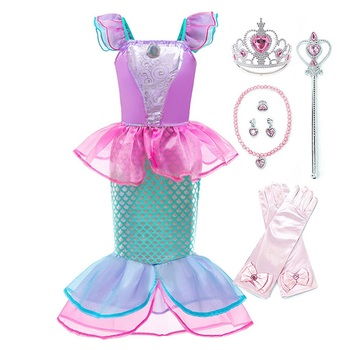 Girls Princess Ariel Mermaid Dress Kids Christmas The Little Mermaid Costume Children Carnival Birthday Party Fancy Clothes Wig girls jasmine costume and wig headband kids christmas carnival birthday party dress children cosplay clothes accessories