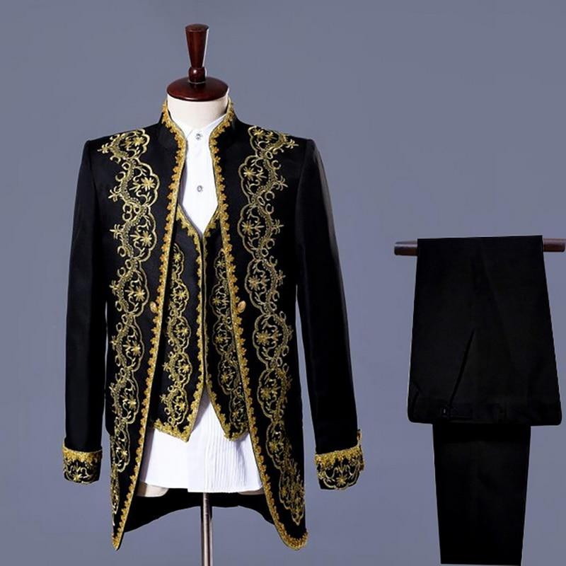 DIHOPE Male 3 Piece Suit Set Embroidery Tuxedo Tailcoat Jacket Blazer Set Singer Team Costumes Magician Host Slim Stage Wear
