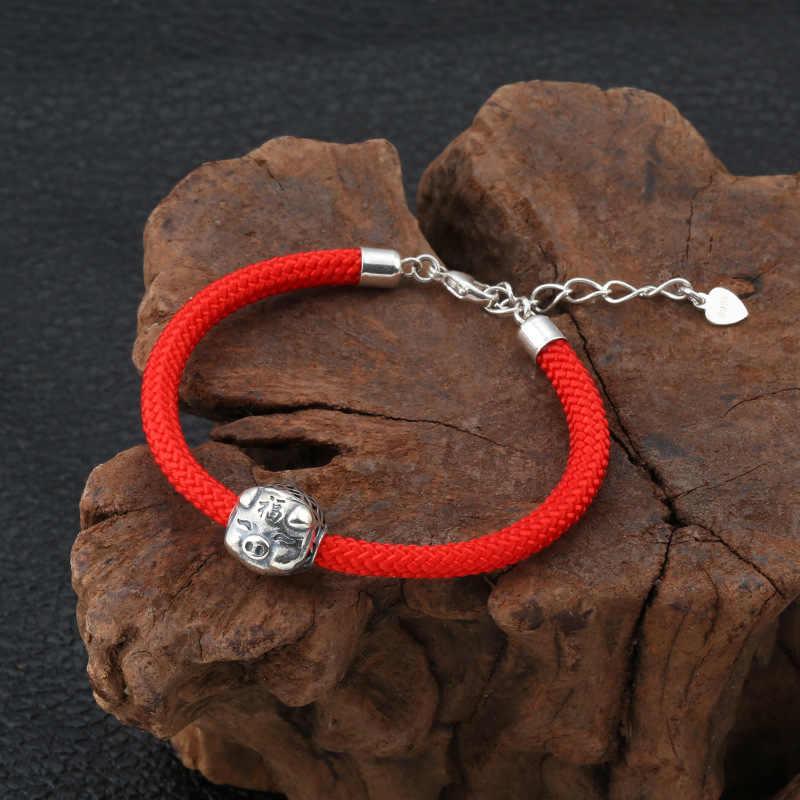 本物の 925 スターリングシルバージュエリーファッションシンプルなシルバー豚赤ロープ女性ブレスレットファインジュエリー誕生日ギフト