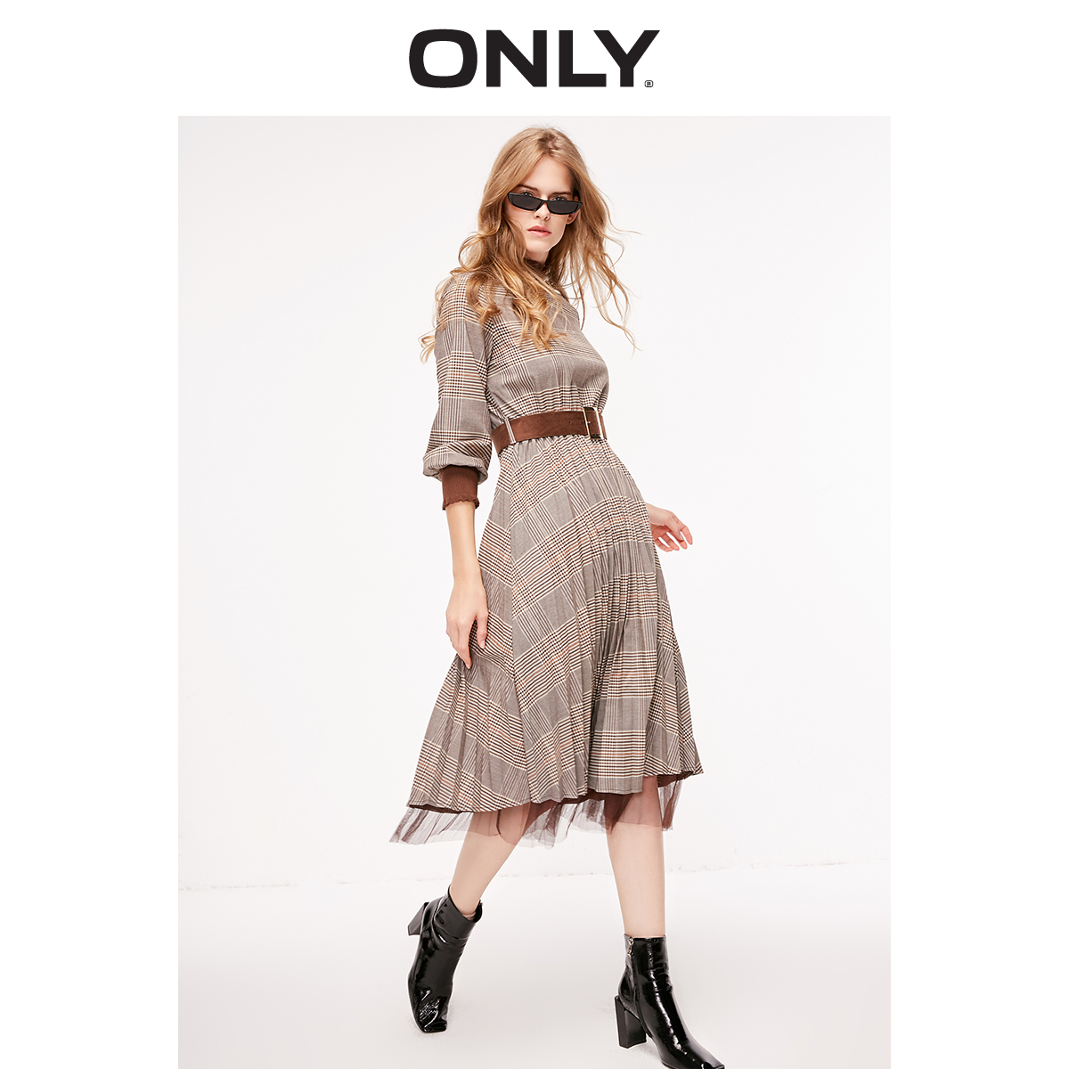 ONLY Women's Frilled Mock Neck Checked Cinched Waist Pleated Dress   119107520