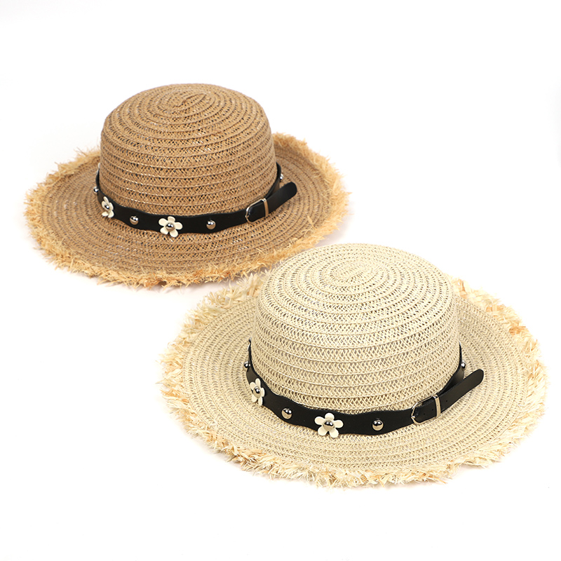 Summer Hat Beach Women Sun Straw Hat Casual Adjustable Flat PU Leather Floret Breathable Straw Hat Ladies Hats Summer 2020