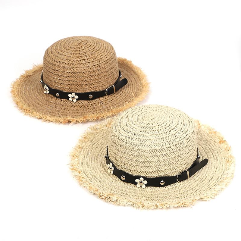 Summer Hat Beach Women Sun Straw Hat Casual Adjustable Flat PU Leather Floret Breathable Straw Hat Ladies Hats Summer 2020
