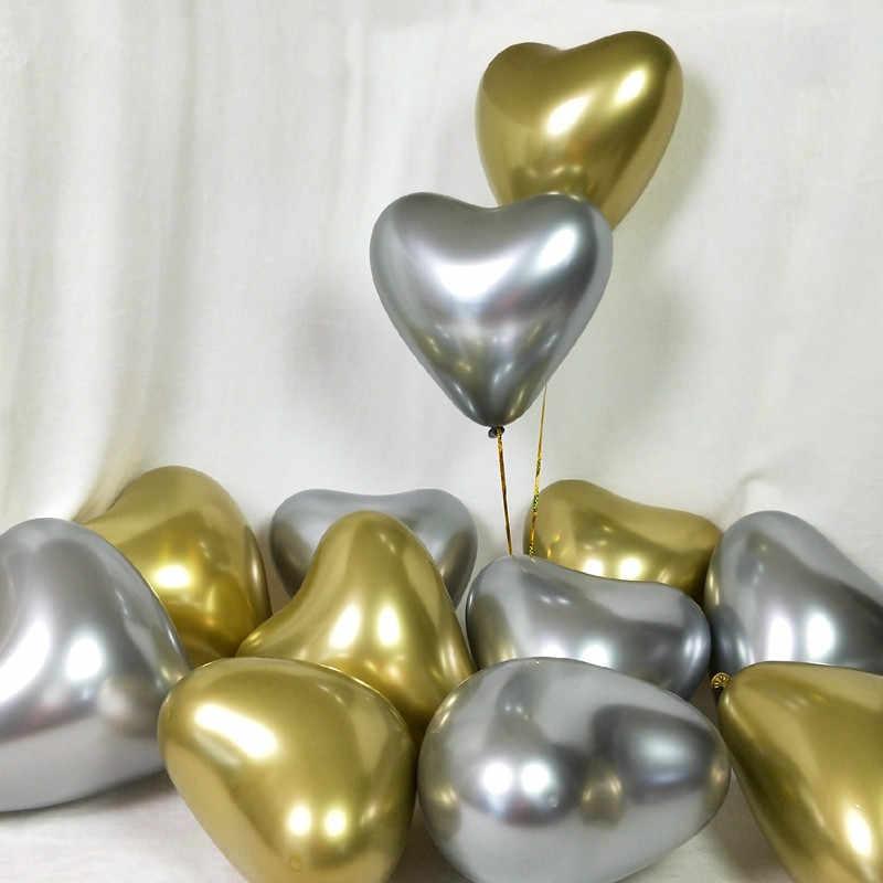 Globos de látex metálicos de oro plateado de 5 uds. Globos de Metal perlado Globos de colores dorados Globos de cumpleaños de boda globo de suministros para fiestas @ 6
