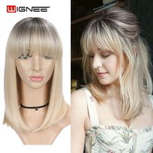 Wignee Short Bob Straight Hair Ombre Honey Blonde Women Wigs With Bangs Daily Synthetic Wigs for African American Daily/Party