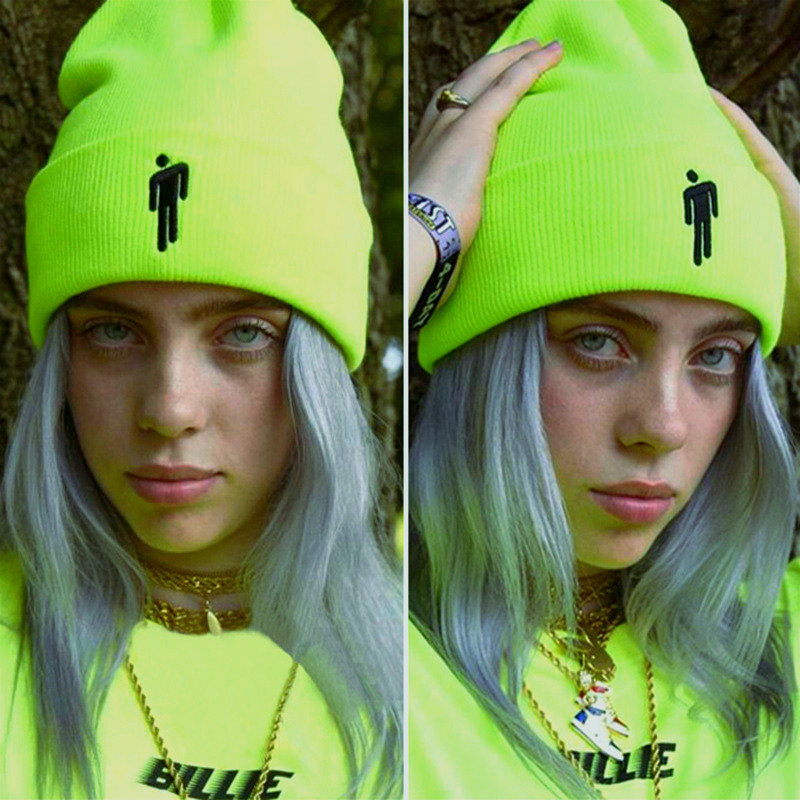 2019Embroidery Trend Billie Eilish Beanies Hats Cuffed Plain Beanie Warm Winter Knitted Hats for Men Women Solid Hip-hop Cap(China)