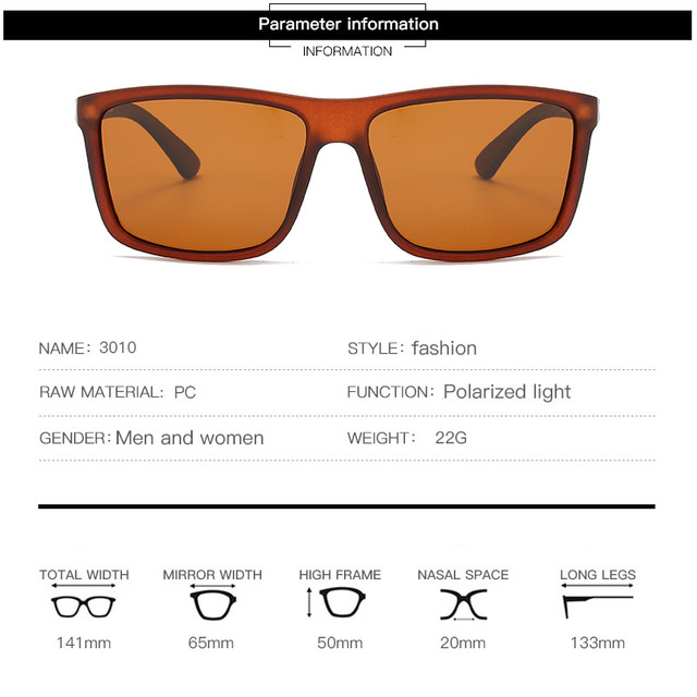 Gafas de sol polarizadas para hombre y mujer, lentes cuadrados para el sol, retro de marca famosa, unisex 3