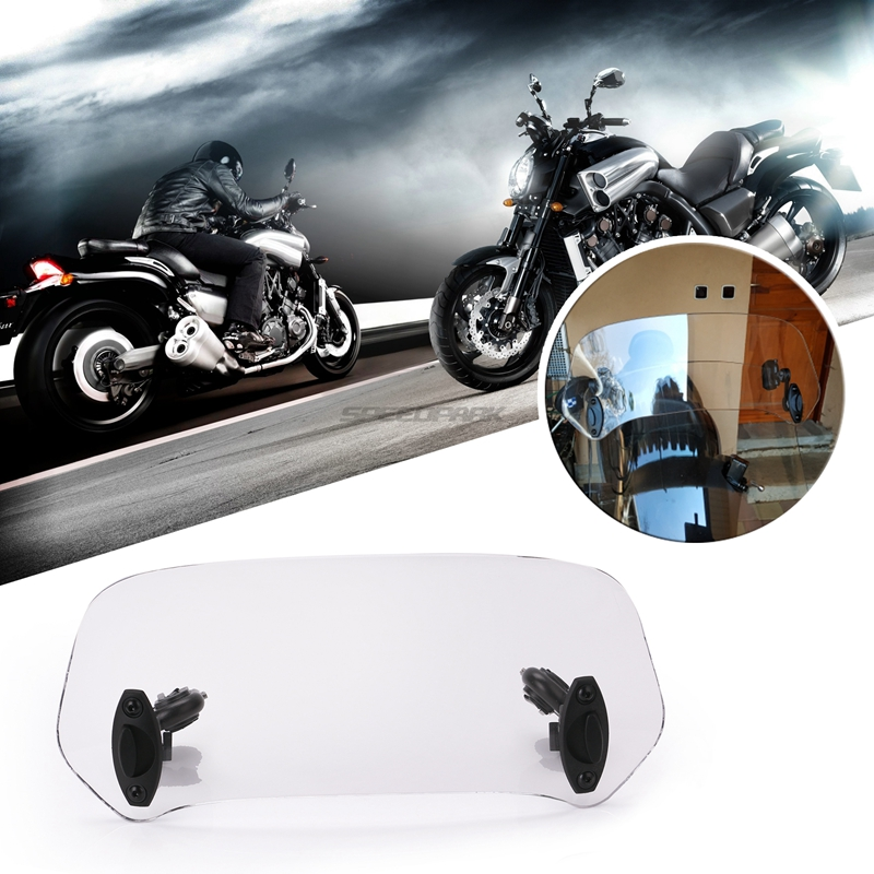Motorcycle Parts Adjustable Clip On Windshield Extension Spoiler Windscreen Air Deflector For Honda Suzuki Yamaha